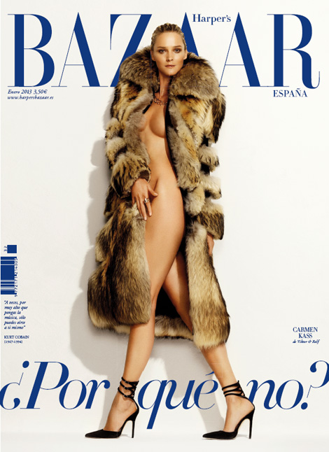 Carmen Kass In Fur Coat And Shoes For Harper's Bazaar Spain