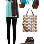 Casual Friday Outfit: Mixed Leather & Teal
