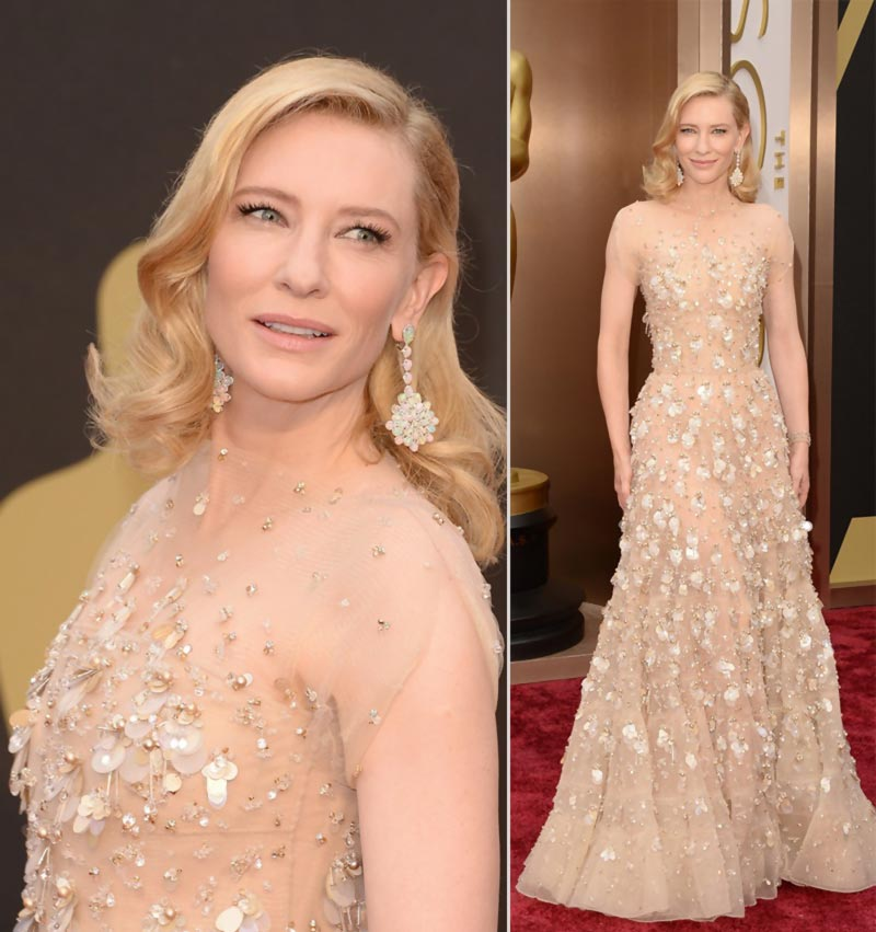 Cate Blanchett Glowing In Armani Prive Dress At The 2014 Oscars