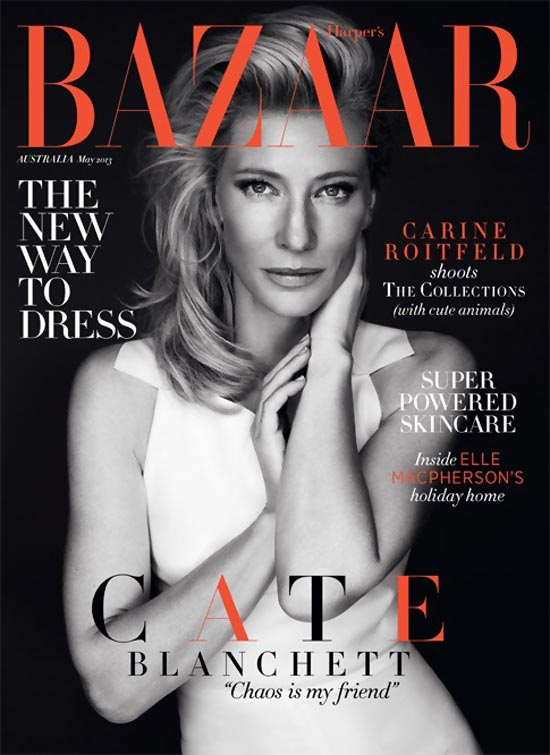 Cate Blanchett black and white Harpers Australia cover