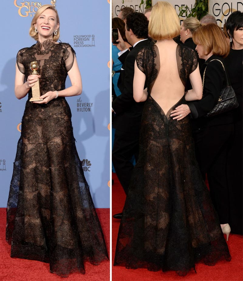 Cate Blanchett black lace dress Golden Globes