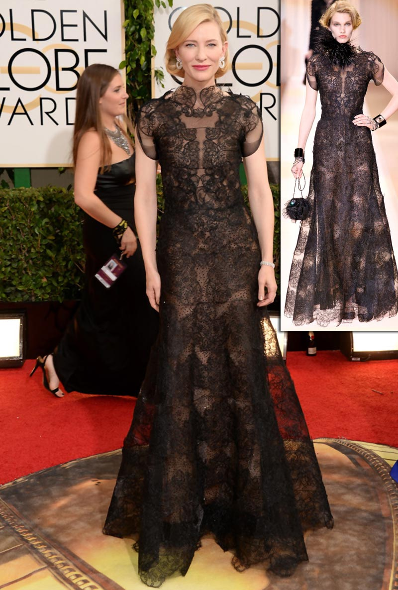 Cate Blanchett Golden Globes black dress Armani Prive