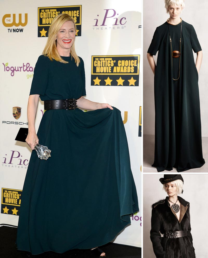 Cate Blanchett green dress wide belt Lanvin Critics Choice awards winner