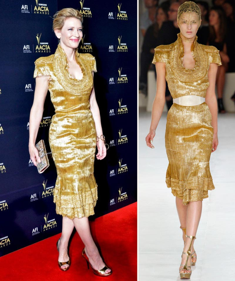 Cate Blanchett McQueen golden dress SS12 AACTA Awards