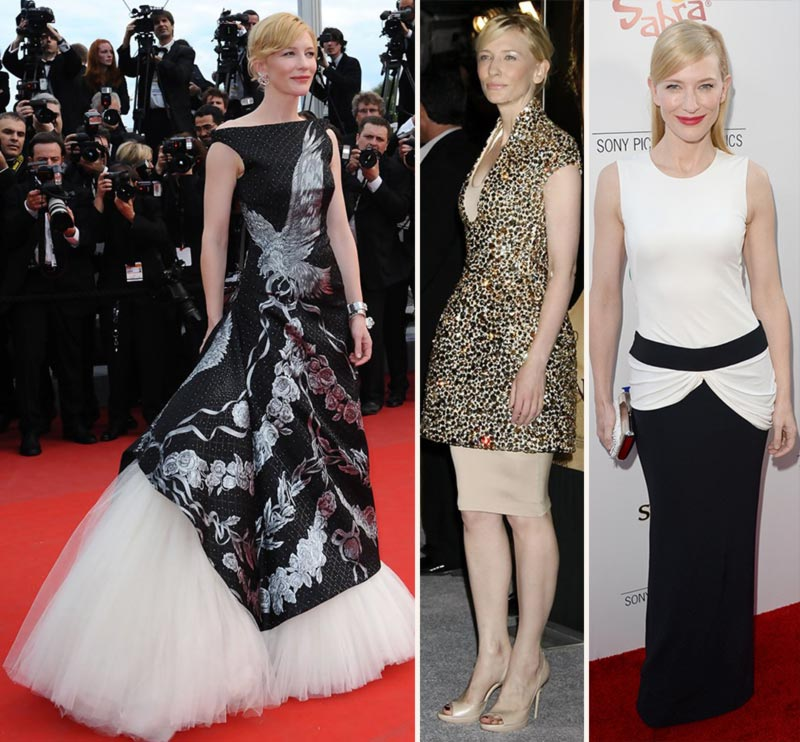 Cate Blanchett wearing Alexander McQueen dresses various events