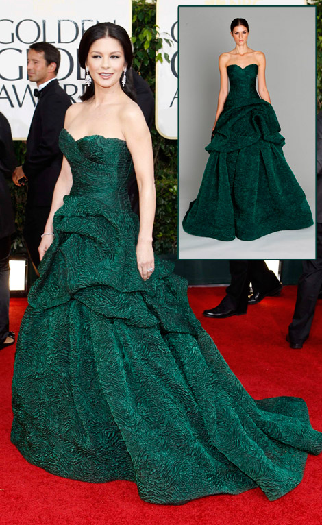 Catherine Zeta Jones Green Monique Lhuillier dress Golden Globes 2011