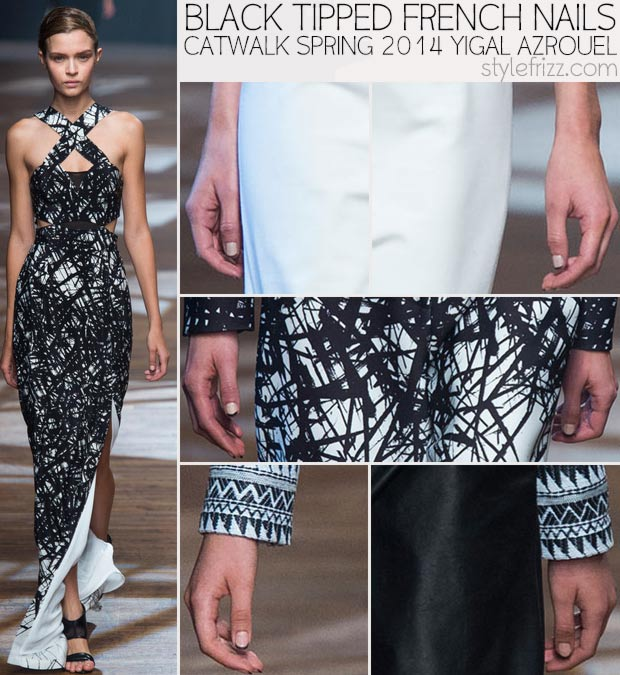 catwalk Black Tipped French nails Spring 2014 Azrouel