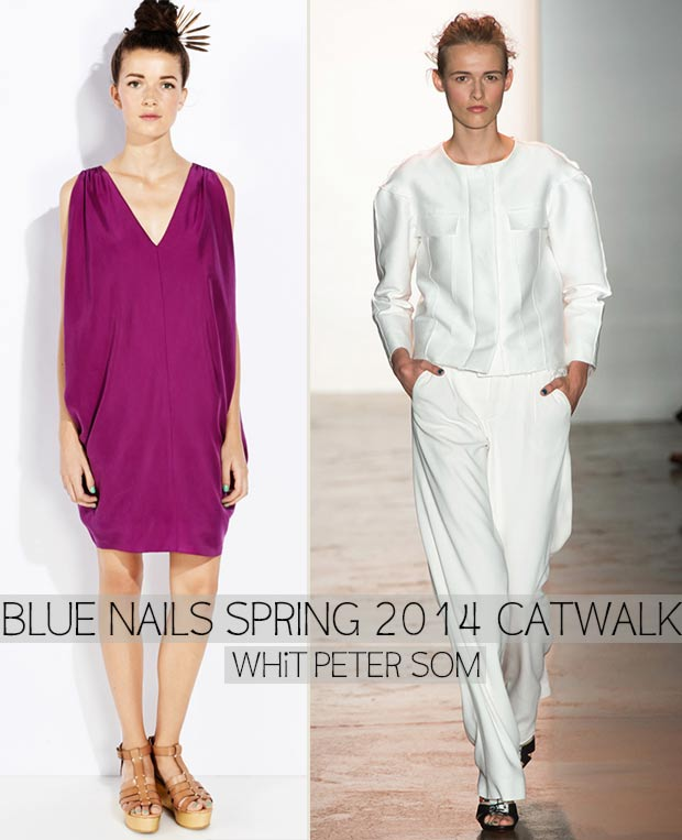 Catwalk Blue nails Spring 2014 WHiT Peter Som