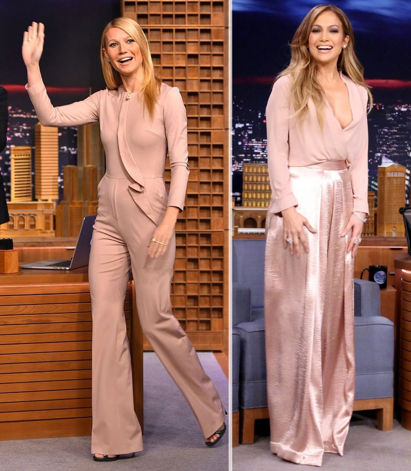 celebrities 2015 fashion essentials blush pink outfits Gwyneth Paltrow JLo
