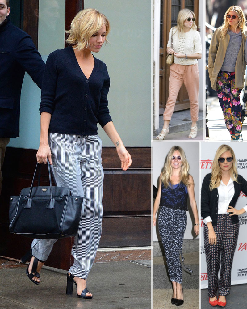 celebrities 2015 fashion essentials pajama pants Sienna Miller