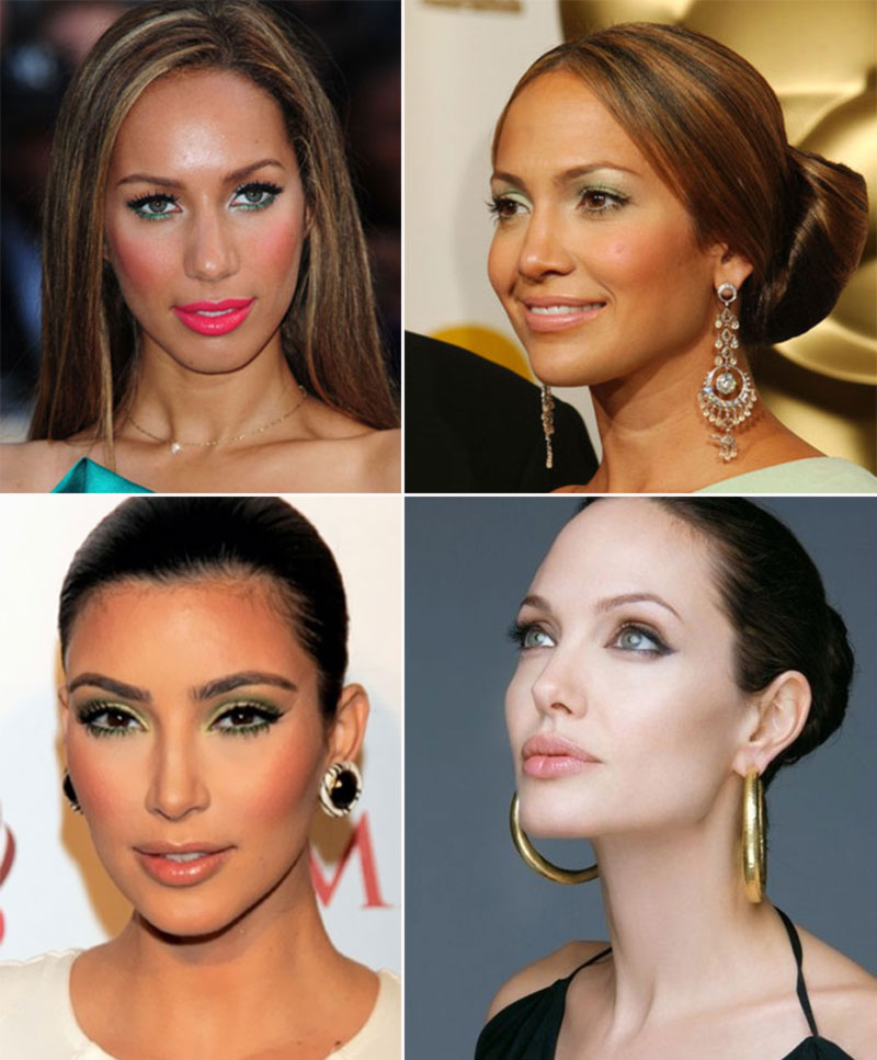celebrities wearing green makeup Leona Lewis JLo Kim Kardashian Angelina