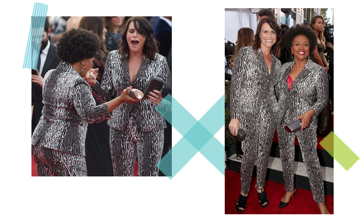 celebrities wearing same outfit on the red carpet