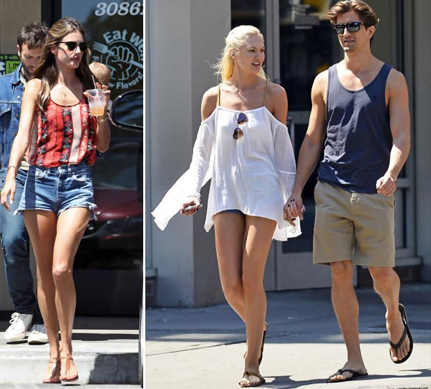 celebrities wearing shorts Alessandra Ambrosio Candice Swanepoel