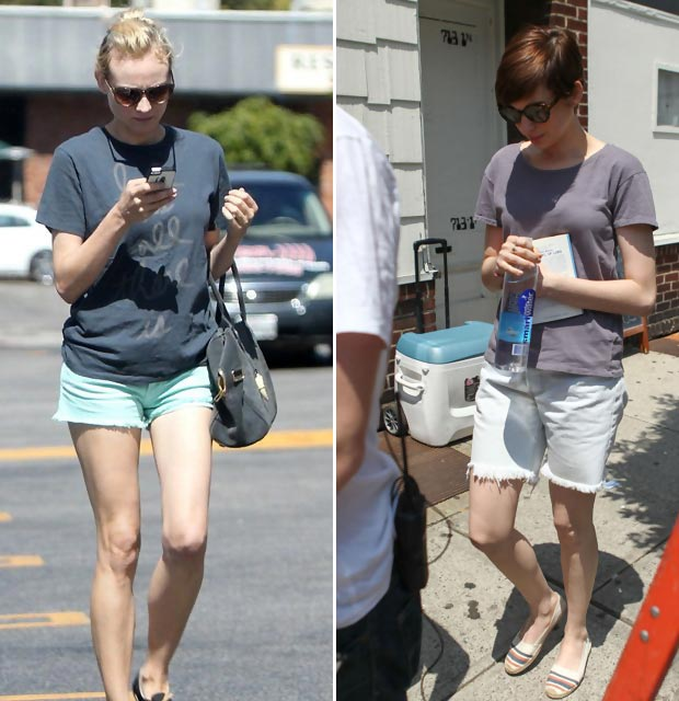 celebrities wearing shorts Diane Kruger Anne Hathaway