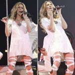 Celine Dion wearing straps white sandals at Vancouver concert