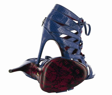 Cesare Paciotti lace red soles blue shoes