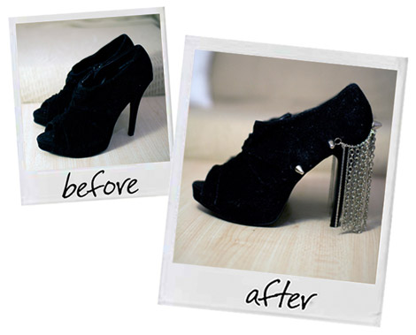 Chain Curtain high heels shoes diy