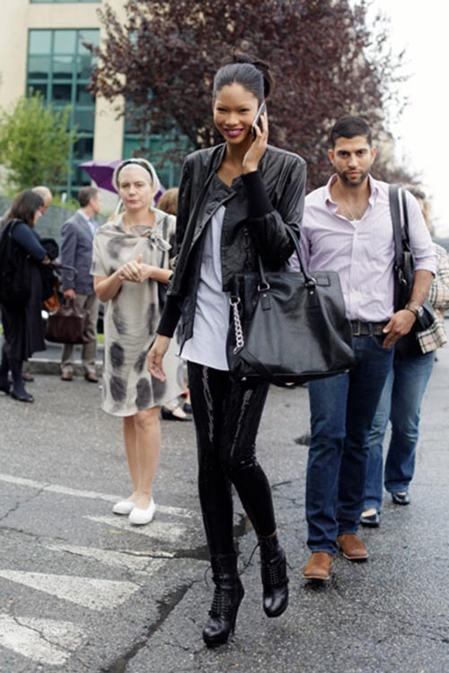 Chanel Iman black sequin leggings