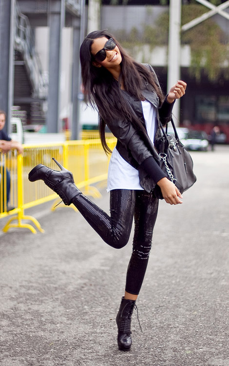 Black Sequined Leggings - StyleFrizz