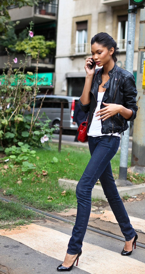 Chanel Iman Jeans top Chanel bag