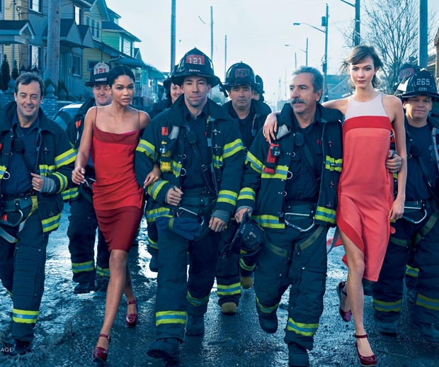 Chanel Iman Karlie Kloss Vogue February firefighters