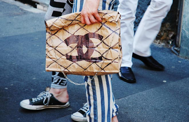 Chanel Quilted Paper bag large