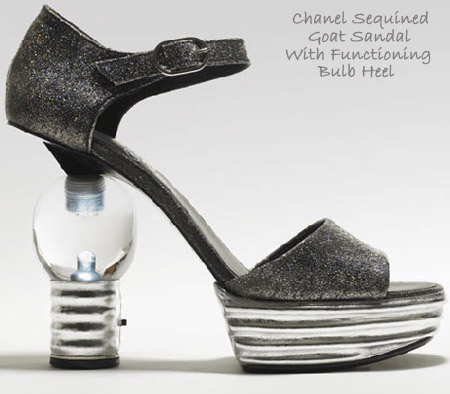 Chanel Sequined goat sandal with functioning bulb heel