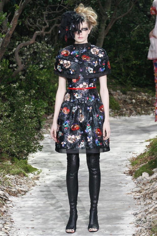 Chanel Spring 2013 Couture collection flowers on black dress