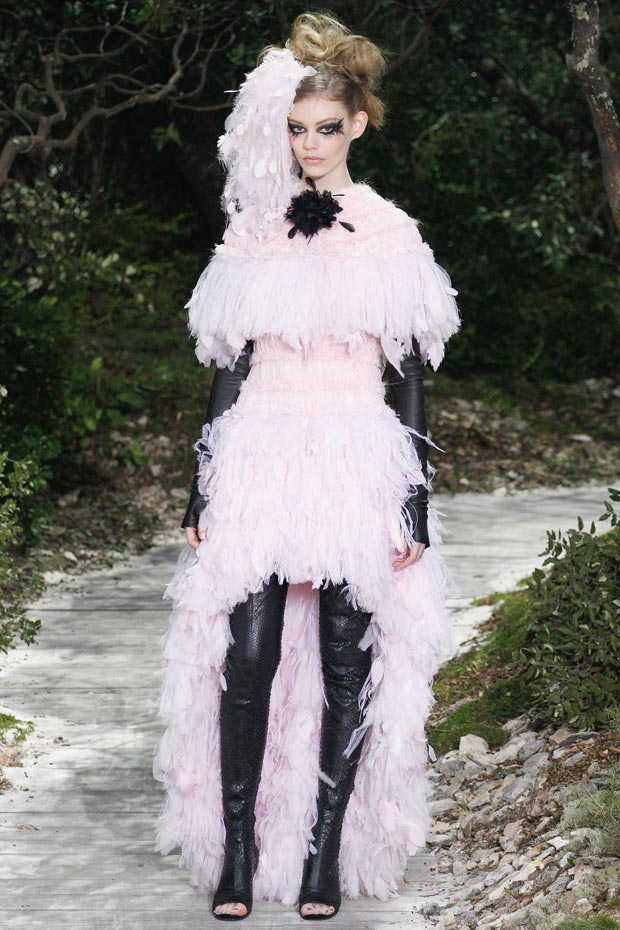 Chanel Spring 2013 Couture collection petals feathers dress