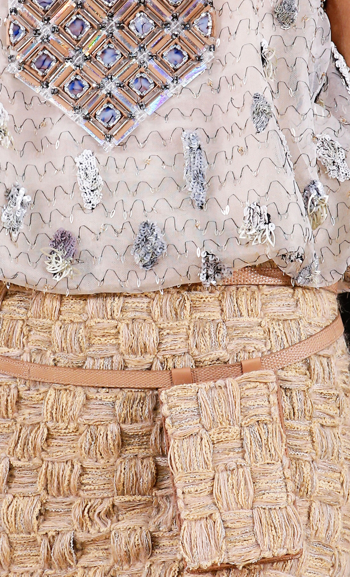 Chanel Spring 2016 Couture sequins embroidery rope skirt