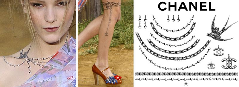 Chanel temporary tattoos swallows chains