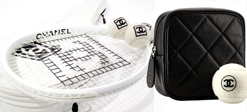 Chanel tennis ball white racket