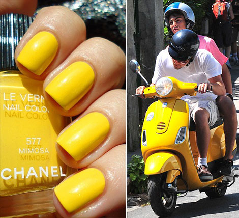 Chanel yellow nail polish MImosa yellow scooter
