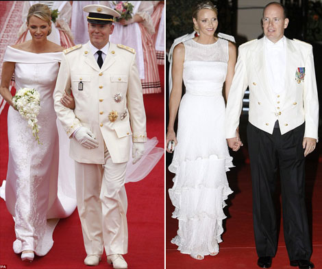 Charlene Wittstock princess bride in Armani wedding gowns Albert Monaco wedding