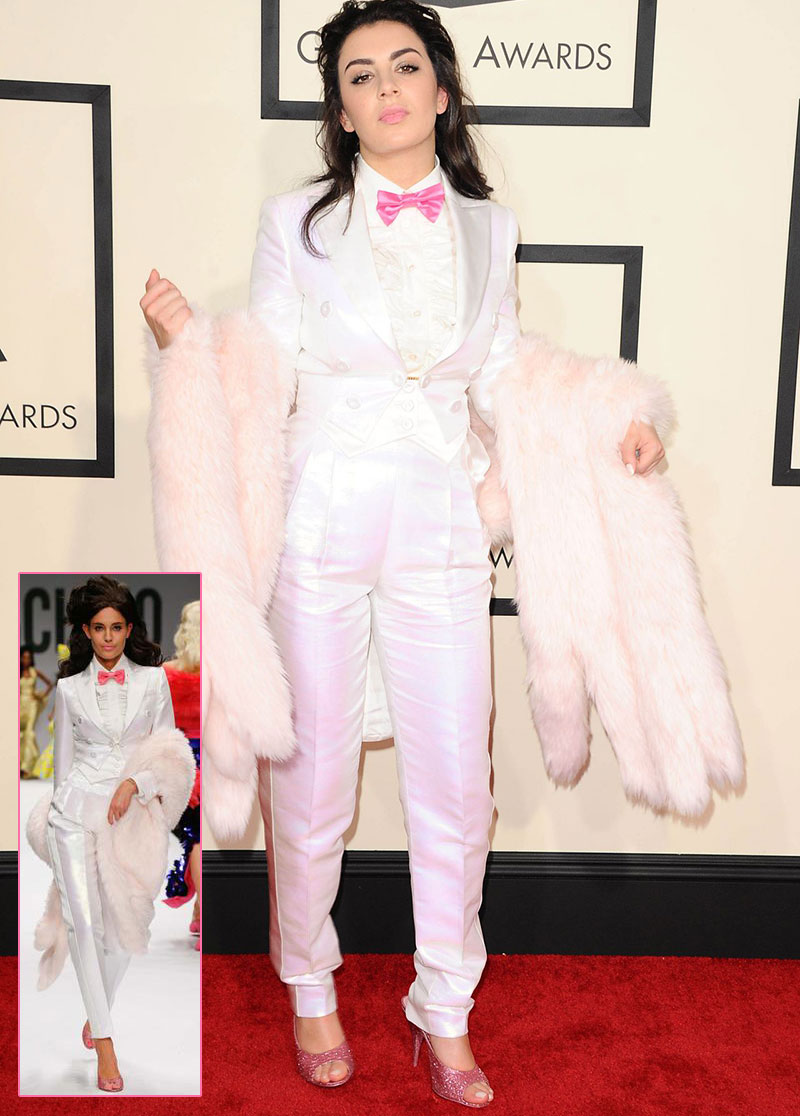 charli xcx Grammy 2015 white suit Moschino