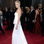 Charlize Theron 2013 Oscars white Dior dress