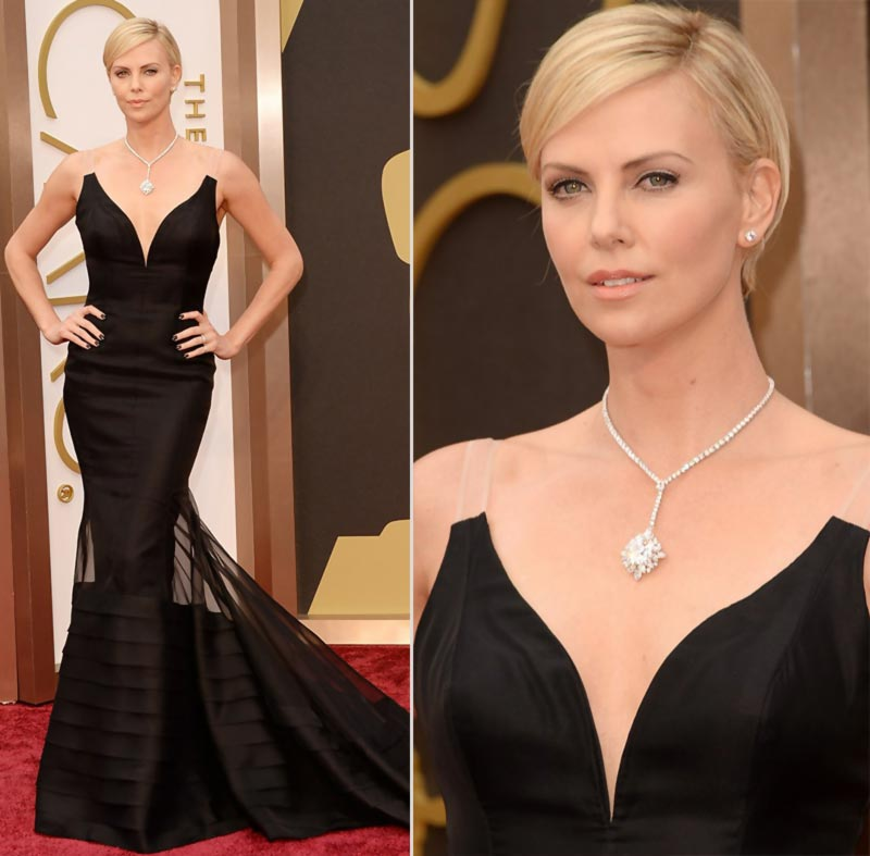 Charlize Theron Oscars 2014 jewelry hair makeup