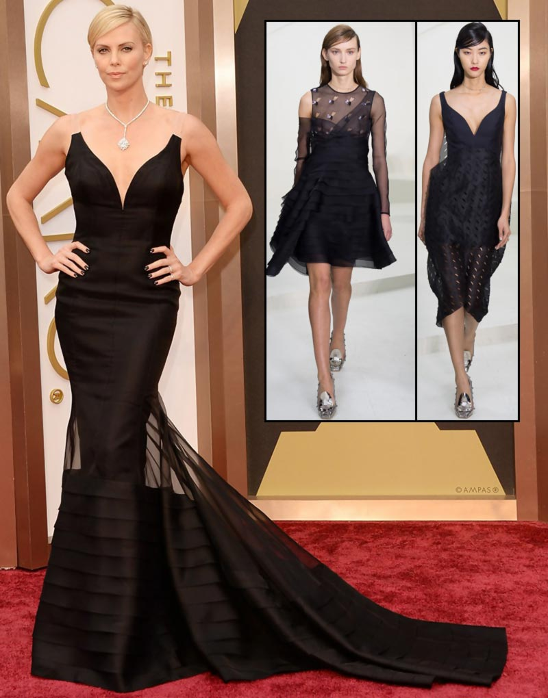 Charlize Theron In Custom Dior Couture Black Dress For 2014 Oscars