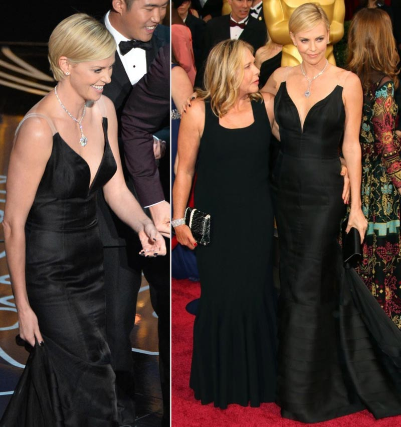 Charlize Theron In Custom Dior Couture Black Dress For