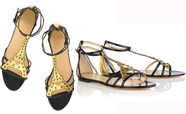 Charlotte Olympia black gold sandals Spring 2013