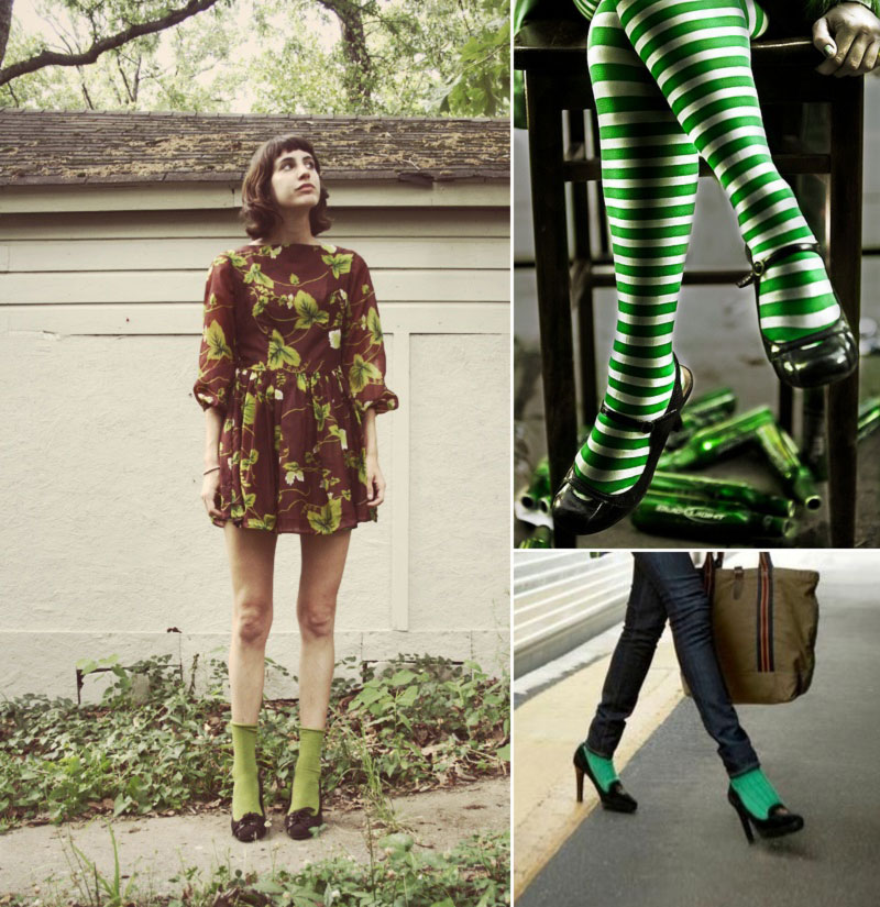 chic ways to wear green hosiery