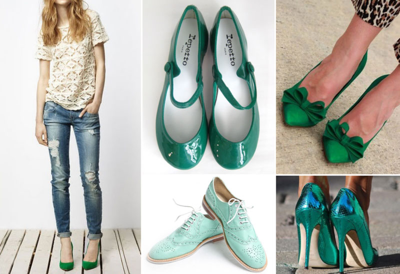chic ways to wear green shoes