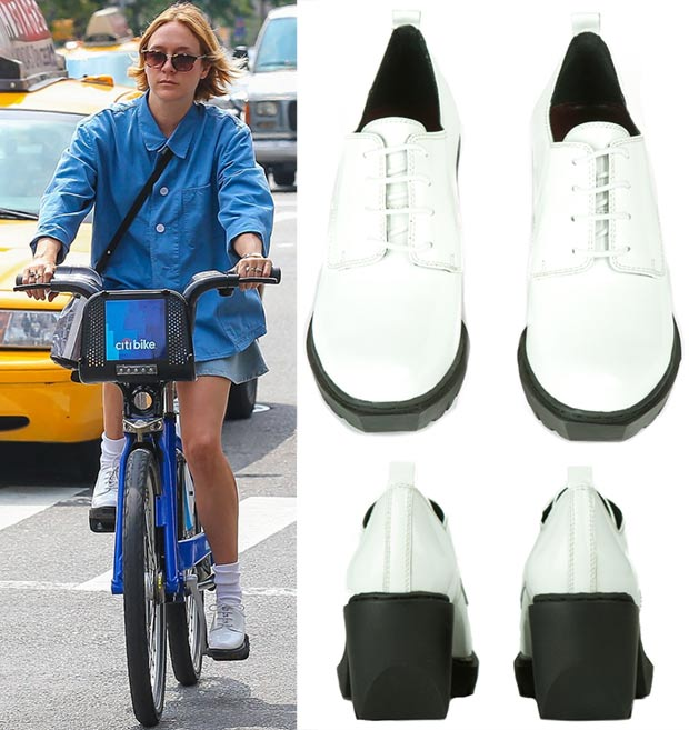 Chloe Sevigny casual denim look white shoes