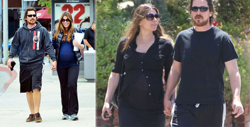 Christian Bale wife pregnant baby bump