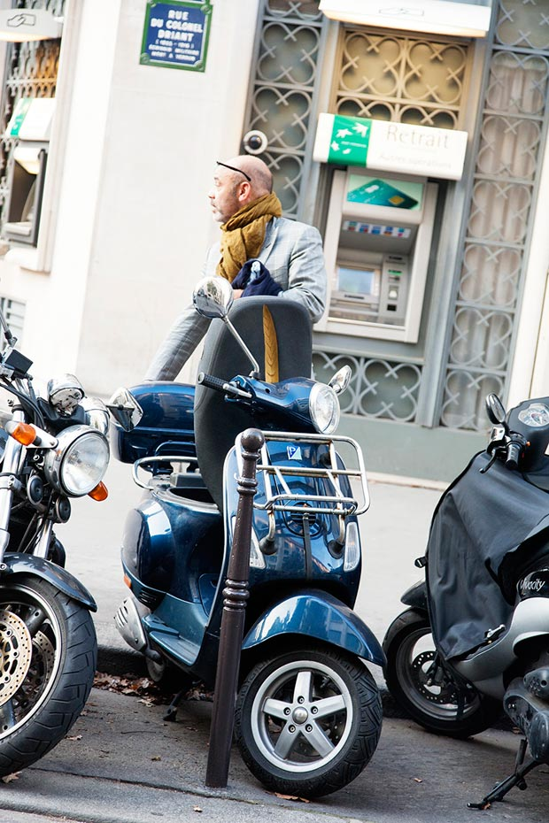 Christian Louboutin in Paris with scooter