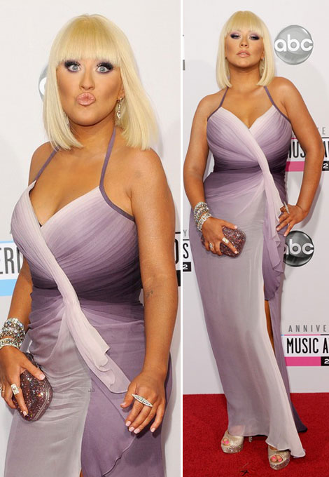 Christina Aguilera tan ombre dress AMAs 2012