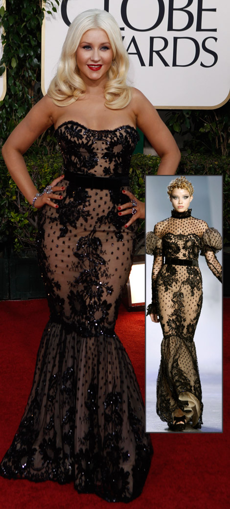Christina Aguilera Zuhair Murad dress Golden Globes 2011