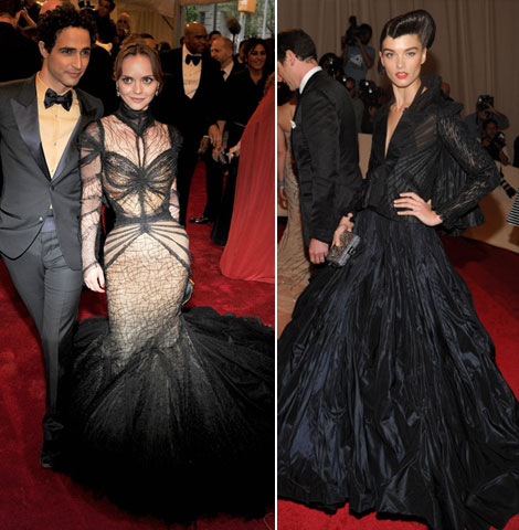 Christina Ricci Crystal Renn Black Zac Posen dresses Met Ball 2011