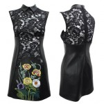 Christopher Kane flowers leather qipao