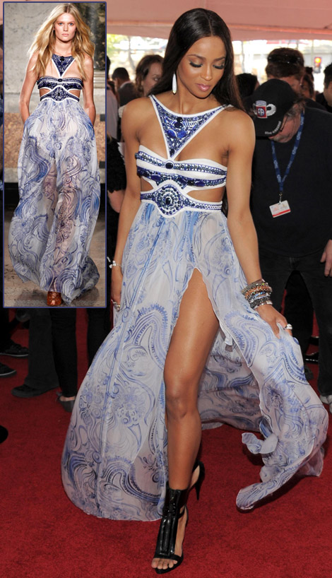 Ciara Emilio Pucci maxi dress 2011 Grammy Awards